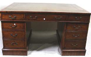19th C. ENGLISH CHIPPENDALE STYLE PARTNERS DESK
