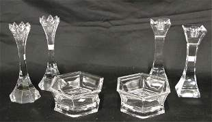 MIXED LOT OF SIX DECORATIVE CRYSTAL PIECES