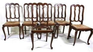 SIX ANTIQUE OAK COUNTRY FRENCH SIDE CHAIRS