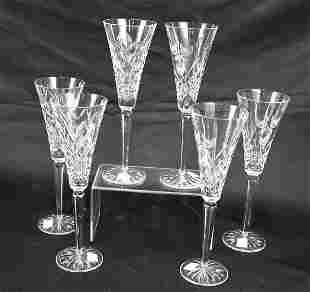 SET OF SIX WATERFORD CRYSTAL CHAMPAGNE FLUTES