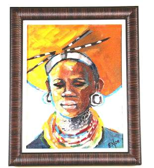 AFRICAN WOMAN ACRYLIC ON CANVAS PAINTING BY EATON