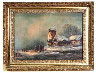 19th CENTURY SNOWSCAPE OIL ON CANVAS PAINTING