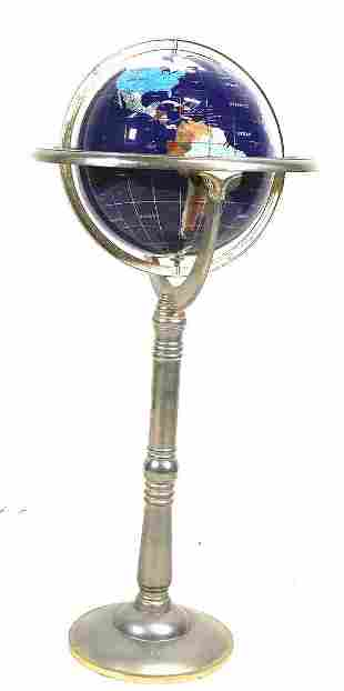 INLAID GEMSTONE AND MINERAL GLOBE ON STAND