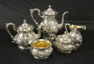FIVE PIECE GORHAM FLEURY STERLING SILVER TEA SET