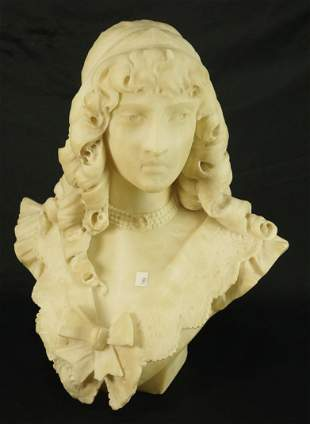 19th CENTURY CARVED ALABASTER BUST
