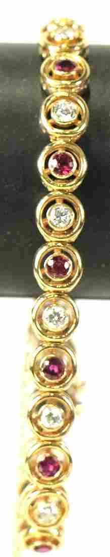 14kt YELLOW GOLD DIAMOND & RUBY BRACELET