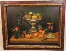 LARGE STILL LIFE WITH FRUIT OIL ON CANVAS PAINTING