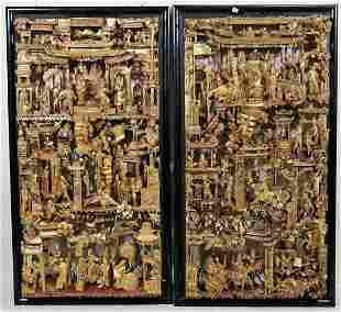 PAIR OF ANTIQUE CHINESE CARVED & GILDED RELIEFS