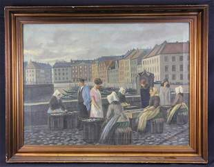 """W. BRINK """"THE FISH MARKET"""" OIL ON CANVAS PAINTING"""