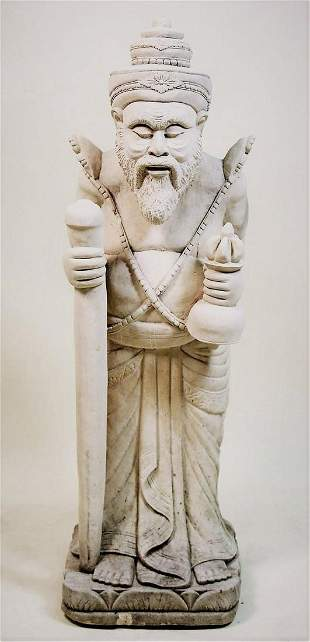 CARVED LIMESTONE CHINESE WIZARD SCULPTURE