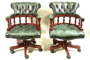 PAIR OF VINTAGE BUTTON TUFTED LEATHER ARMCHAIRS
