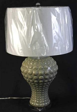 CONTEMPORARY ASIAN CELEDON PORCELAIN LAMP
