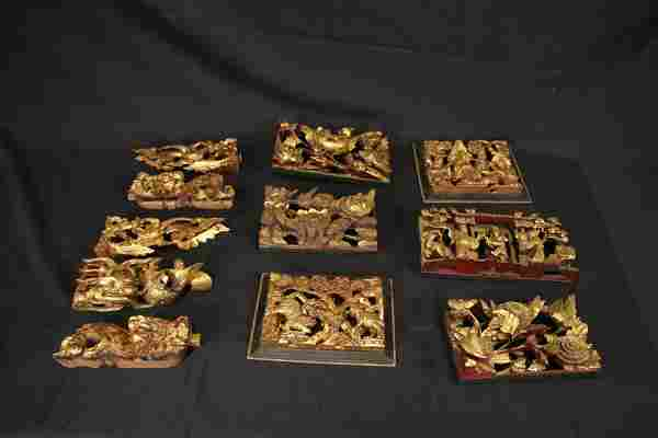 11 19th C. CHINESE CARVED & GILDED RELIEF PANELS
