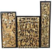 THREE 19th CENTURY CHINESE CARVED & GILDED RELIEFS