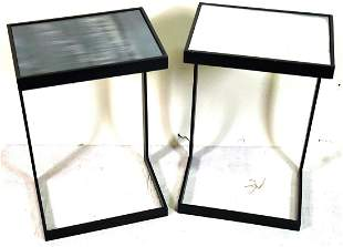 PAIR OF IRON MIRRORED TOP ACCENT TABLES