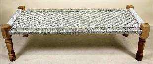 WOOD BENCH WITH METAL WEBBING