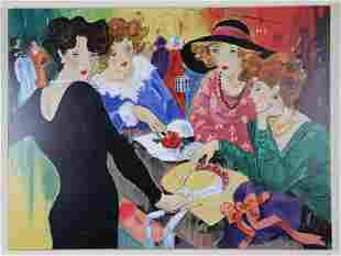 M. BANKS LADIES WITH HATS LITHOGRAPH SIGNED