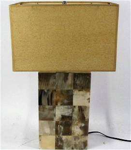 CONTEMPORARY HORN SHELL COVERED LAMP