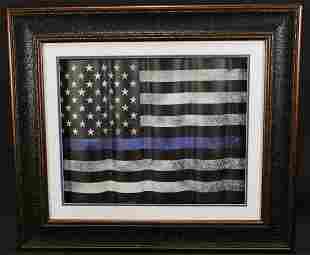 FRAMED LAW ENFORCEMENT THIN BLUE LINE FLAG