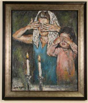 MOM AND DAUGHTER LIGHTING SHABBAT CANDLES OIL PAINTING