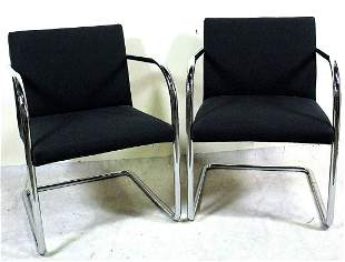PAIR OF KNOLL BRUNO CHAIRS BY MIES VAN DER ROHE