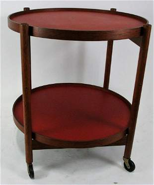 MCM WOODEN ROUND TWO TIER TABLE ON CASTERS