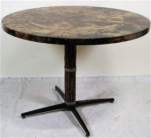 CUSTOM MID-CENTURY MCGUIRE GOAT SKIN TOP TABLE