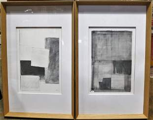 PAIR OF FRAMED ABSTRACT LITHOGRAPH ARTWORKS