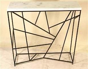 MARBLE TOP CONSOLE TABLE WITH GEOMETRIC METAL BASE