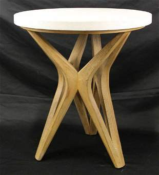 PAIR OF STONE TOP SIDE TABLES