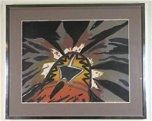 R.C. GORMAN C.T.P. ABSTRACT PAINTING ON PAPER