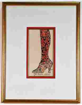 """ANDY WARHOL """"GEE, MERRIE SHOES"""" HAND COLORED LITHO"""