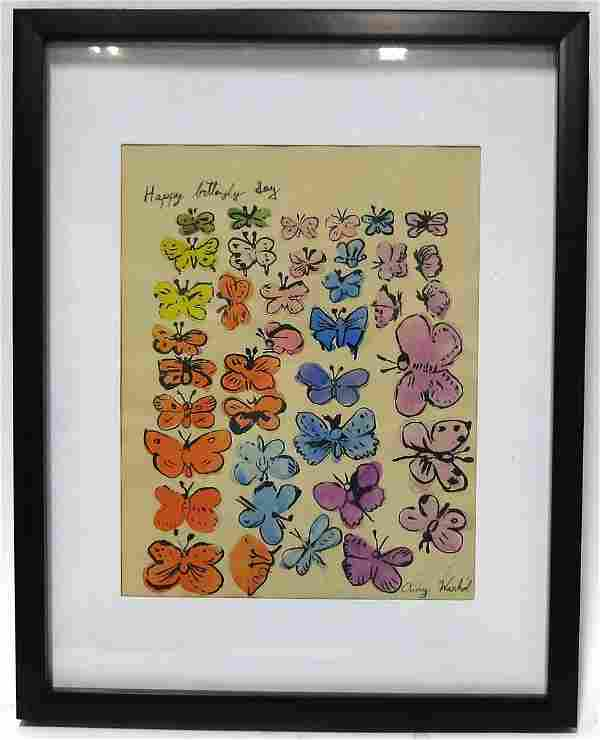 ANDY WARHOL HAPPY BUTTERFLY DAY HAND COLORED LITHO