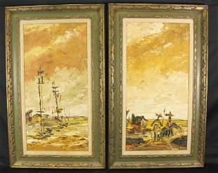 TWO J. HOWARD RABBY ABSTRACT OIL PAINTINGS