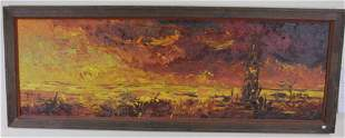 J. HOWARD RABBY SUNSET OIL ON BOARD PAINTING