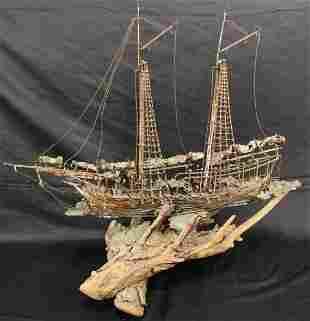 MID-CENTURY MODERN METAL SAILING SHIP
