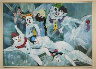 """FRANK FREED (AMERICAN 1906-1975) """"CLOWNS"""" OIL ON CANVAS"""