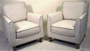PAIR OF BEAUFORT LEATHER ARMCHAIRS
