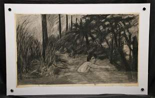 LAURENT BOCCARA GUY IN THE WATER CHARCOAL ON PAPER