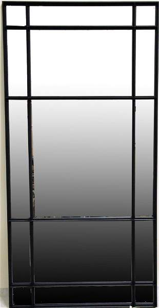 FRAMED BLACK PAINTED CONTEMPORARY WALL MIRROR
