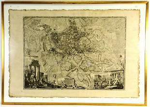 c.1748 LA NUOVA TOPOGRAFIA DI ROMA ALLA SANTE MAP