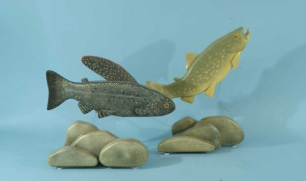2: TWO CARVED AND PAINTED FOLK ART FISH