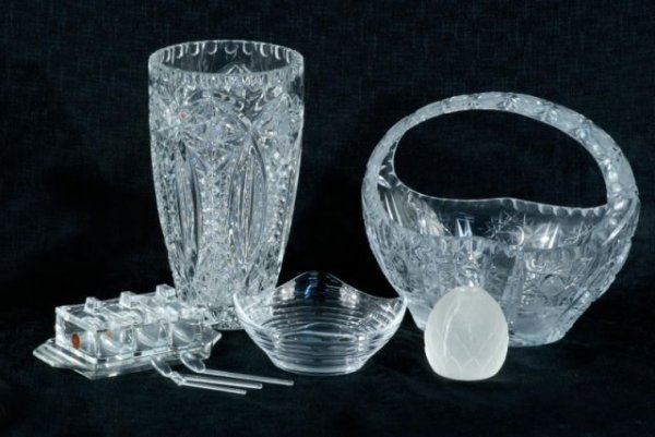 3: LOT OF FIVE CUT GLASS PIECES