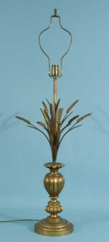 "8: VINTAGE ITALIAN GILDED ""SHEAF OF WHEAT"" LAMP"
