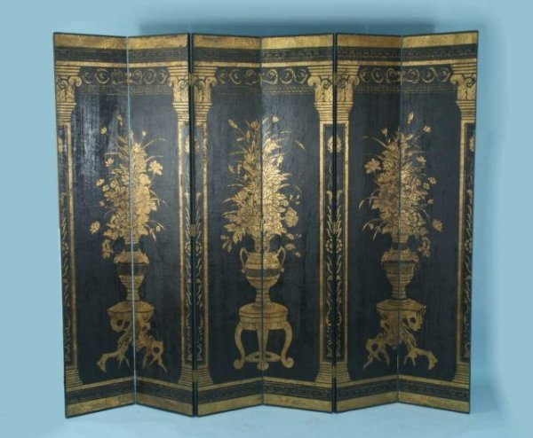 17: SIX-PANEL EBONIZED AND GILDED SCREEN