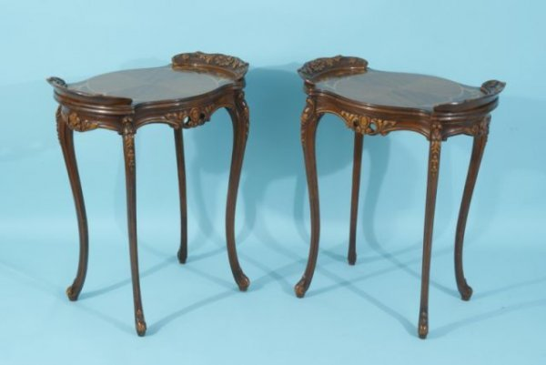 21: PAIR OF CARVED & INLAID END TABLES, CIRCA 1940