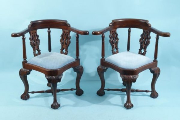 22: PAIR OF CHIPPENDALE STYLE CORNER CHAIRS