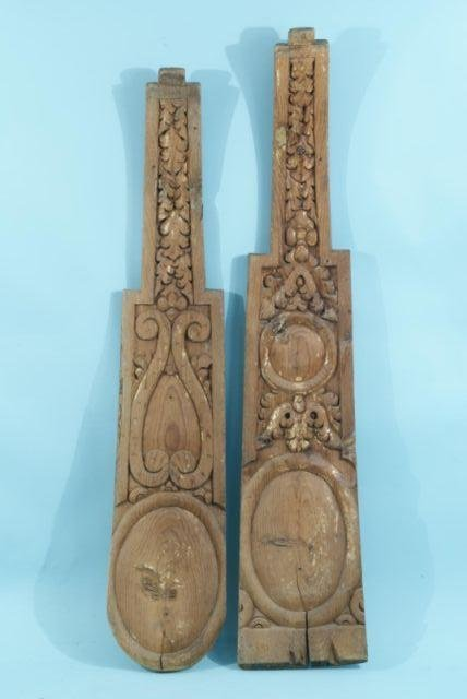 25: PAIR OF WOOD CARVED DECORATIVE WALL HANGINGS