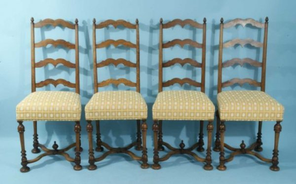 90: SET OF FOUR LADDERBACK SIDE CHAIRS