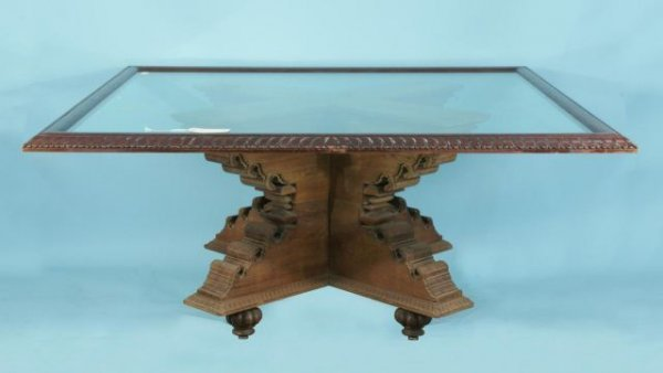 14: INDONESIAN WOOD CARVED TABLE